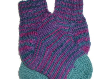 Baby Socks - Hand Knit Purple/Green and Pink Striped Baby Socks