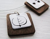 Aspen Leaf Cutout Square Neckwire  Necklace with Walnut Wood -- Modern Woods