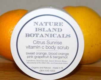 Citrus Sunrise Body Scrub.  Walking thur the Orange Groves on the Rainforest Island of Dominica, WI