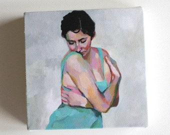 Rimma / Tiny canvas  print -Portrait painting -Print of Original acrylic painting