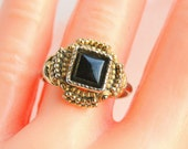 Vintage Art Deco Ring Black Onyx Adjustable Ring Antiqued Goldtone Chunky Modernist