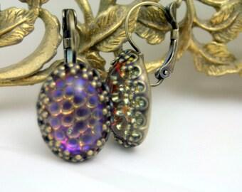 Mystical Mischief Snakeskin Heliotrope Blue Leverback Earrings Antique Brass Fairytale