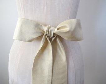 Champagne Dupioni Silk Sash Bow Belt Wedding Sash Silk Obi Belt - extra long length - made to order