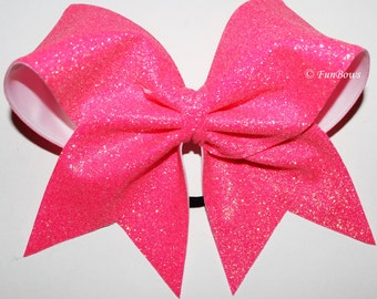 SALE ! Awesome  Pink Glitter Cheerleading Bow Awareness  - by FunBows !