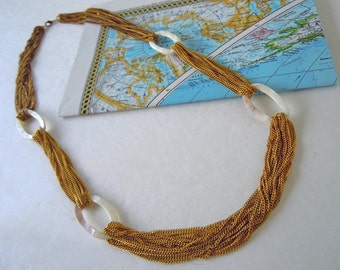 Vintage 1980's Necklace Chain and Shell Mother Of Pearl Beads 29 Inches Chain Link Necklace
