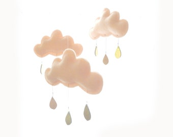 "Bestseller : Peach cloud and Star mobile for nursery ""MAY"" with gold star by The Butter Flying-Rain Cloud Mobile Nursery Children Decor"