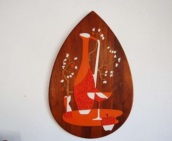 Wood Teardrop Shaped Wall Art Vintage Mid Century Modern Still
