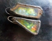 Shimmer beach glass earring pair with solder and flash. Faux Roman glass.
