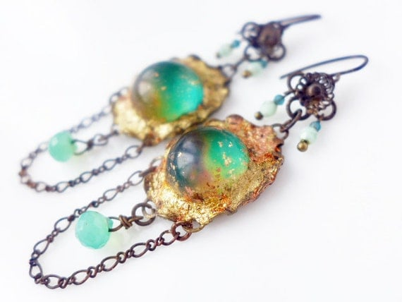 Between the Vast and the Miniscule. Cosmic assemblage earrings with gold leaf rustic bling galaxy nebula green.