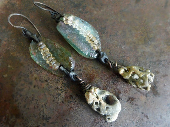 Trust the Water. Roman glass. Rustic Victorian Tribal earrings with aquamarine and beach stones.