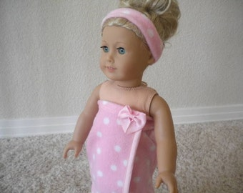 Pink with White Polka Dots Fleece Bath or Spa Wrap with Matching Headband for American Girl Dolls or most 18 inch Dolls