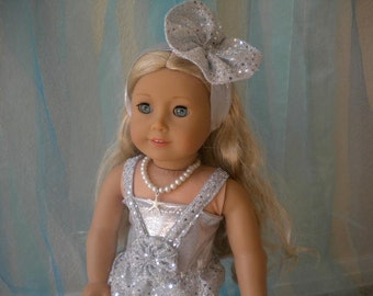 """Silver 4 Piece Mermaid Costume for 18"""" dolls"""