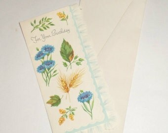 Vintage Birthday Card - Flowers Wheat Leaves Nature Card - Ruffled Edge Card with Envelope - Vintage Greeting Card - Collectible Card