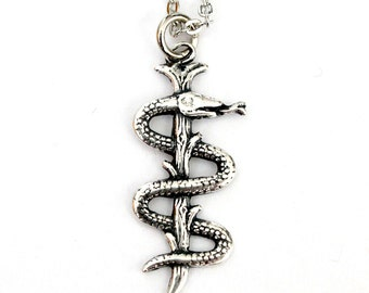Silver Rod Of Asclepius Necklace Staff of Asclepius Sterling Aesculapius Pendant 550