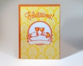 Letterpressed French Congratulations Card