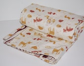 ORGANIC quilted baby blanket- woodland critters- ready to ship
