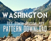 "DIY State String Art Pattern - Washington - 10"" x 7"" - Hearts & Stars included!"