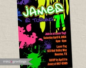 Graffiti Birthday Party Invite - 80s Birthday Party Invitations - neon paintball invites - painting party (Digital Printable File)