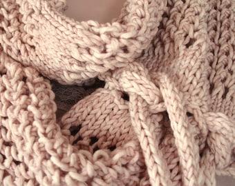 Lace Cowl, Lace Cowl Scarf, Beige Scarf Cowl, Scarf Cowl with Ties, Cotton Acrylic Lace Scarf, Cowl Scarf