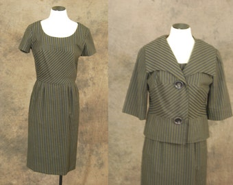 Clearance Sale vintage 60s Dress and Jacket -  1960s Wiggle Dress Set - Navy Blue and Brown Stripe Suit Sz M