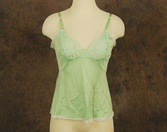 CLEARANCE vintage 60s Cami - Pastel Sea Green Lacy Camisole 1960s Lingerie Sz M 36