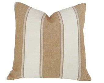 Tan Cream Striped Pillow, Coastal Pillow Covers, Decorative Throw Pillows, Beach House Decor, 18x18 Cushion Cover