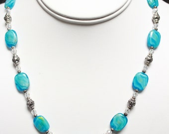 Blue Glass Beaded Necklace. Listing 195082877