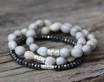 African Imfibinga Hill Tribe Beadwork Bracelet / Karen Hill Tribe Silver Natural Grey Seeds, Tribal Bohemian Boho Rain Cloud Storm Gray