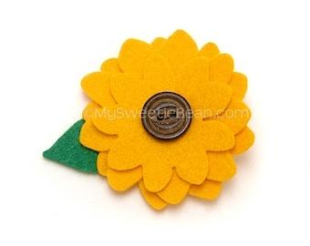 Sunflower Hair Clip, Ready to Ship Felt Flower Clip, Felt Sunflower Clippie for Girls, Boho, Woodland, Flower Child, Baby Toddler Girl