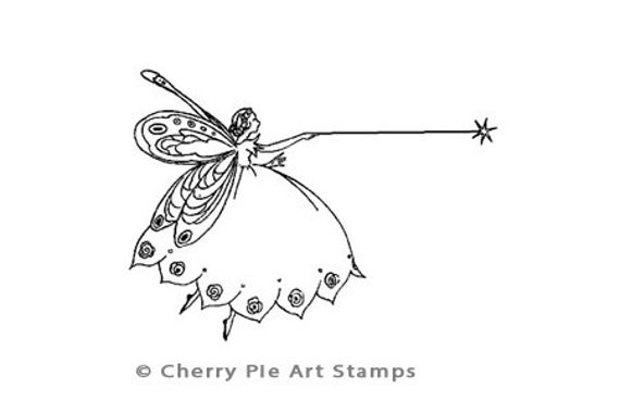 Little Magic Fairy - CLING STAMP for acrylic block by Cherry Pie Art Stamps