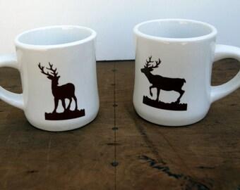 Vintage deer coffee mugs