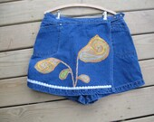 Denim Skirt with Attached Shorts  size 16 Woman Upcycled Skort, Flower Applique Skirt