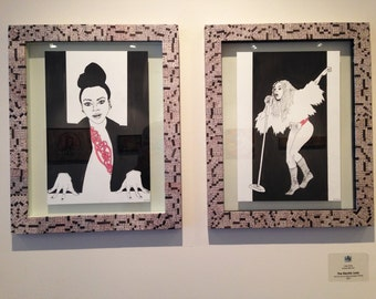 """Janelle Monae - """"The Electric Lady"""" Original Ink Diptych in Handmade Frames"""