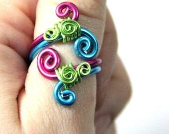 Spiral Burst Adjustable Ring