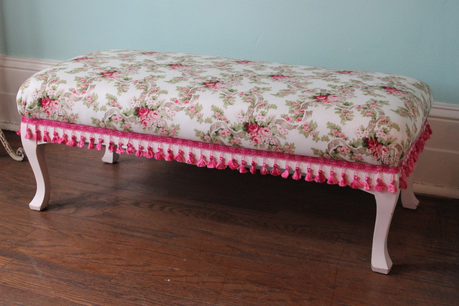 Shabby Chic Vintage Bench With Pink Rose Fabric And Hot Pink