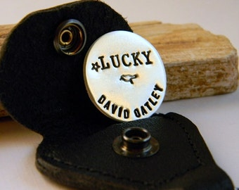 Personalized Sterling Golf Marker, with leather Case,  Lucky Birdie, Token, Keychain, Personalized Gifts, by RosesDeisgns