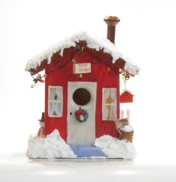 image red christmas birdhouse winter seasonal