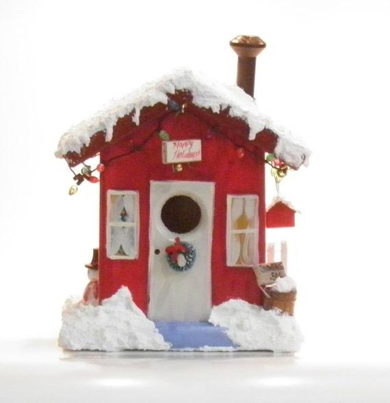 image red christmas birdhouse winter seasonal