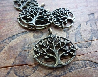 Pendant Charm Antiqued Brass Color Pewter Tree of Life Pendant Drop (1)