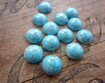 Vintage Cabochon 15mm Glass Turquoise with Matrix Cabochon (2)