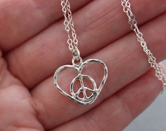 Sterling Love Peace Sign Necklace, Hammered Silver, Handmade Pendant