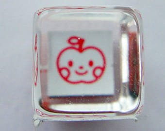Cute Smiling Apple Mini Japanese Rubber Stamp