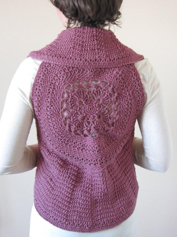 Crochet Flower Shirt Pattern : PATTERN Flower Focus Crochet Vest crochet pattern flower