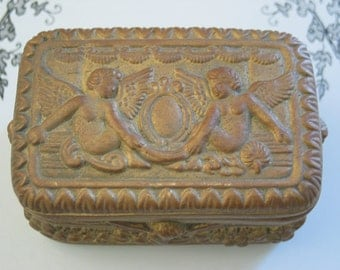 Cherubs Angels Gold Ceramic Box Very Cool - Love the Coloring