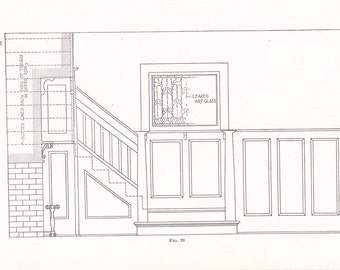1907 Architecture House Print - Vintage Antique Art Illustration Blueprint Drawing Interior Design Great for Framing 100 Years Old