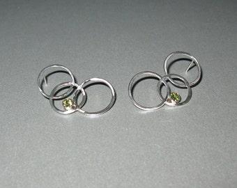 Peridot Circle Earrings
