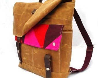 Quilted Electric Prism Waxed Canvas Backpack