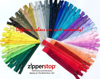 36 Inches #3 coil  Assorted Colors ( 25 ykk Zippers) Made in USA ~ZipperStop Wholesale Authorized Distributor YKK®~ Extra long YKk Zippers