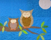 "Owl baby quilt - night sky blue ""How Big is the Sky"" mother and baby owls, full moon, leafy branch, wall hanging, crib blanket READY TO SHIP"