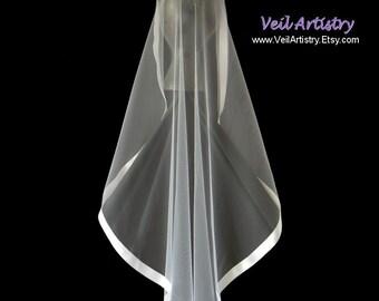 Short Bridal Veil, Mantilla Wedding Veil, Mantilla, Fingertip Veil, Satin Ribbon Edge Veil, Ribbon Veil, Made-to-Order Veil, Custom Veil
